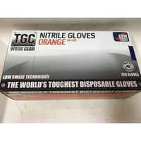 100 Pk Disposable Gloves TGC Workgear ORANGE Hi-Vis Nitrile Gloves XS S M L XL