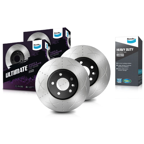 Front Bendix Ultimate Brake Disc Rotors (Pair) & Heavy Duty Brake Pads BR2028 DB2266HD