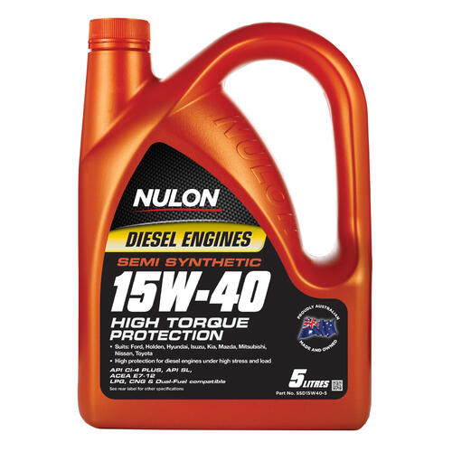 Nulon High Torque Diesel Engine Oil Semi-Synthetic 5 litre (SSD15W40-5)