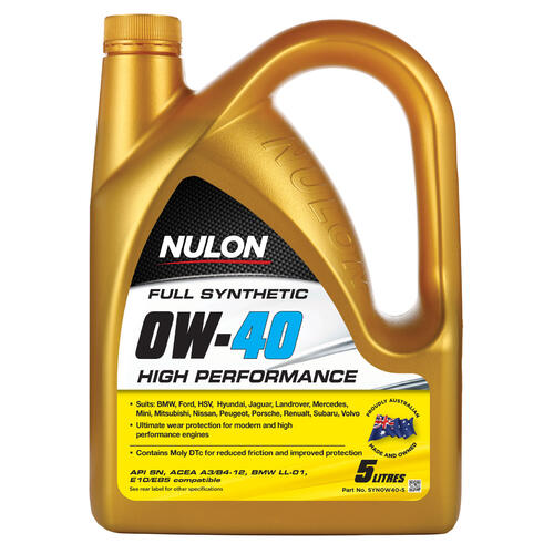 Nulon Full Synthetic High Performance Engine Oil 0w40 5 litre (SYN0W40-5)