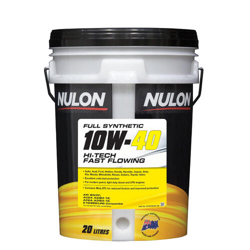 Nulon Full Synthetic Hi-Tech Fast Flow Performance Engine Oil 10w40 20 Litre (SYN10W40-20)