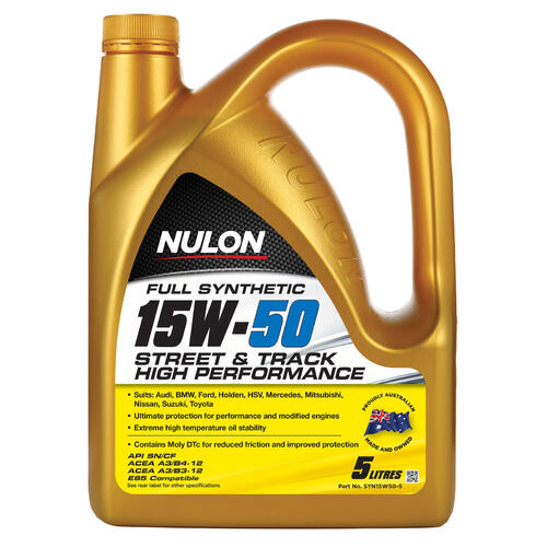 Nulon Full Synthetic 15W-50 Street & Track High Performance Engine Oil 5 Litre