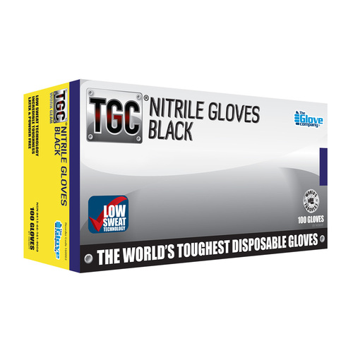 TGC Black Nitrile Gloves 100PK Black X Small (160000)